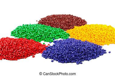 gránulos, colorido, plástico