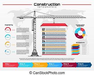 grúa construcción, infographics, edificio