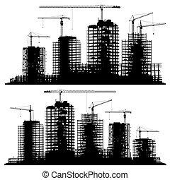 grúas, sitio, construcción, siluetas, conjunto, edificios.