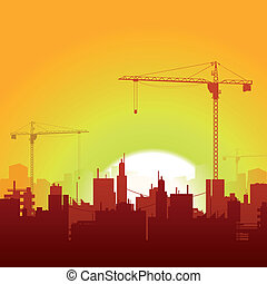 grúas solares y fondo de construcción