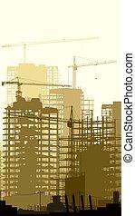 grúas, vertical, ilustración, sitio, construcción, edificios.