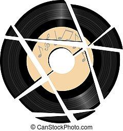 Grabación de vinilo rota con etiqueta musical