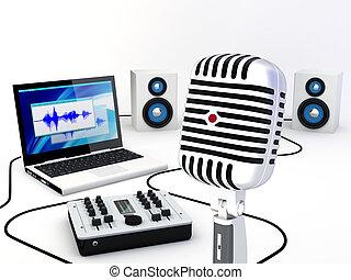 grabación, hogar, estudio, equipo