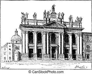grabado, basílica, ciudad, lateran, vendimia, santo, vaticano, juan