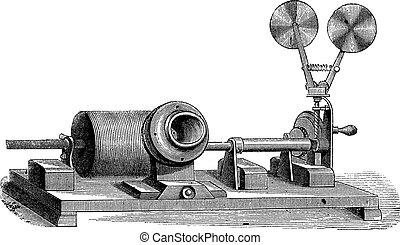 grabado, c, m, -, aparato de relojería, vendimia, boca, gramófono, cilindro