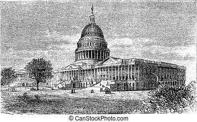 grabado, capitolio, unido, estados unidos de américa, vendimia, c.c, estados, washington