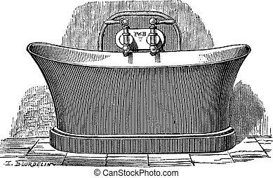 grabado, cobre, bañera, vendimia