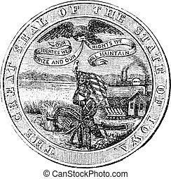 grabado, estado, iowa, estados unidos de américa, grande, vendimia, sello