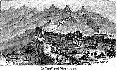 grabado, gran pared, vendimia, china, durante, 1890s