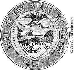 grabado, vendimia, estado, oregón, sello