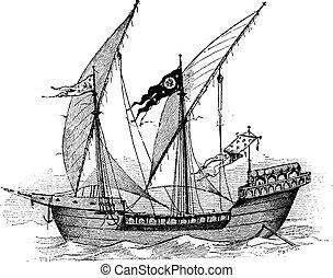 grabado, vendimia, louis, barco, francés, santo
