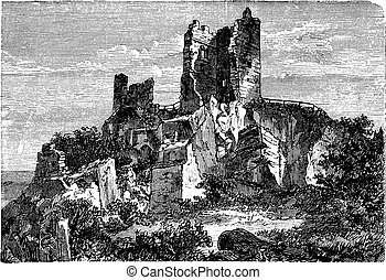 grabado, vendimia, ruina, drachenfels, castillo, palatinado renano, alemania