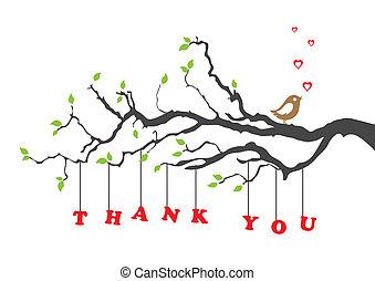 Gracias tarjeta de felicitación con pájaro