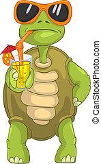 Gracioso cóctel de tortuga.
