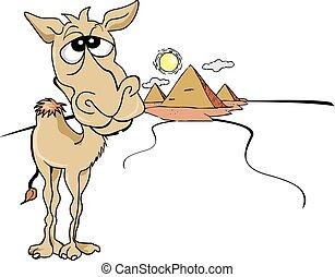 Gracioso camello marrón, ilustración