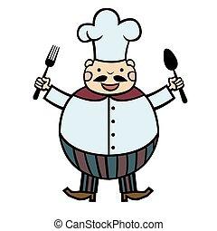 Gracioso cocinero de dibujos animados