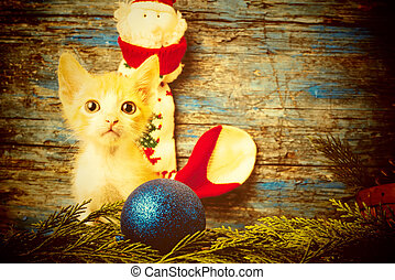 Gracioso gato juguetón, tarjeta de Navidad
