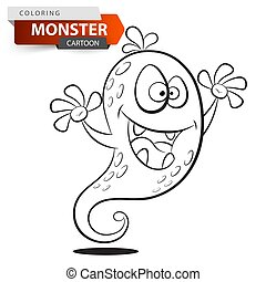 Gracioso, lindo y loco personaje de monstruo de dibujos animados. Ilustración de color.