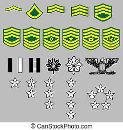 grado, nosotros, insignia, ejército