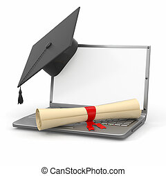 Graduación de aprendizaje. Laptop, diploma y placa de mortero