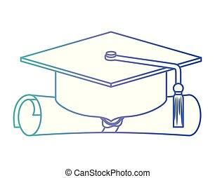 Graduación de sombrero con diploma