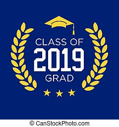 graduado, clase, 2019, estrellas, felicitaciones, borla, tipografía
