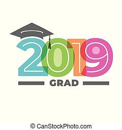 graduado, clase, 2019, tipografía, felicitaciones, gorra