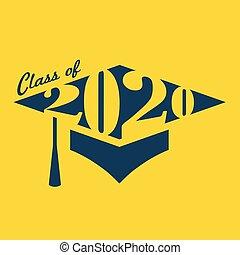 graduado, clase, 2020, tipografía, felicitaciones, borla, gorra