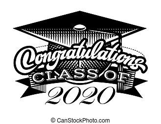 graduado, vector, clase, congrats, graduación, felicitaciones, grad, 2020.