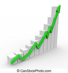 Grafico de negocios con flechas verdes