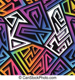 grafiti, seamless, patrón