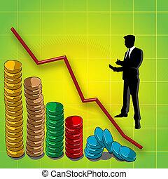 Graflina y bar gráfico de monedas, hombre de negocios silueta