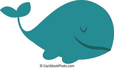 Gran ballena azul, ilustración, vector de fondo blanco.