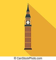 Gran Ben en Westminster, icono de Londres, estilo plano