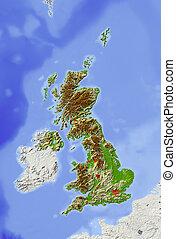 Gran Bretaña, un mapa de ayuda sombra