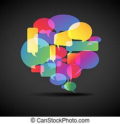 Gran burbuja de habla, icono para las redes sociales