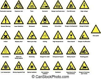 Gran colección de señales de peligro