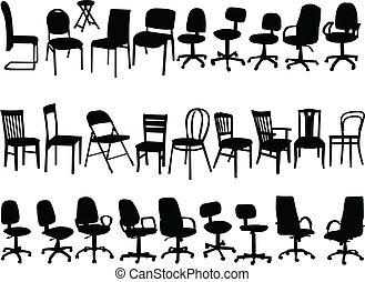 Gran colección de sillas, vector