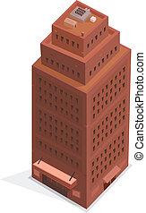 Gran edificio de negocios isometría