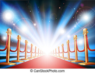 Gran entrada con alfombra roja y luces de flash