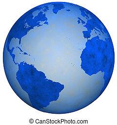 Gran globo terrestre azul