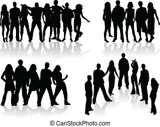 Gran grupo de personas siluetas - ilustración vectorial