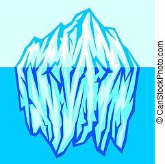 Gran iceberg en la ilustración vectorial del mar