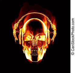 Gran imagen de calavera en llamas usando auriculares