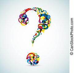 Gran interrogación hecha de pequeños interrogantes