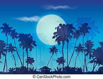Gran luna azul crepúsculo con siluetas de palmas oscuras, fondo de paisaje
