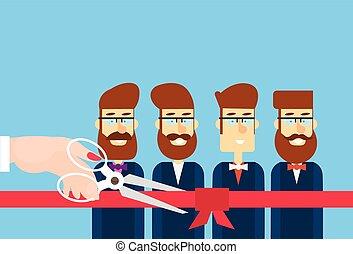 Gran mano de apertura con tijeras cortar cinta roja la presentación del equipo de trabajo de la reverencia