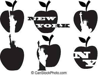 Gran manzana y estatua de la libertad