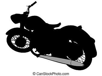Gran moto retro en blanco