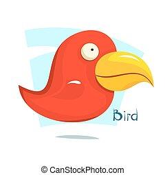Gran pájaro rojo, ilustración vectorial